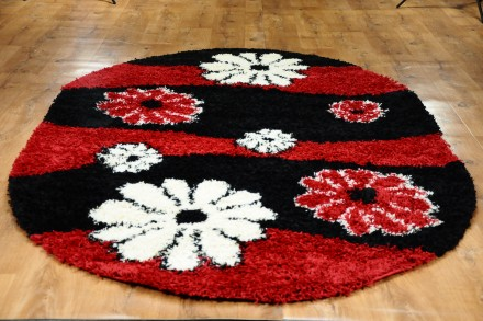 Dywan Kwiaty Czerwień Owal