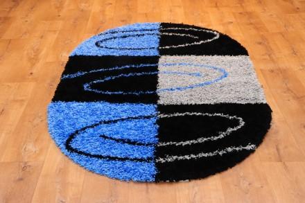 Dywan Spirala Na Kwadratach Błękit Owal