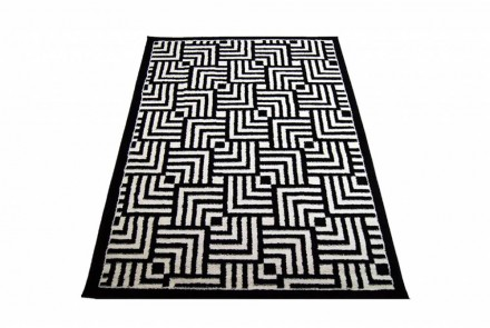 Dywan Kwadratowy Labirynt Czarno-Biały