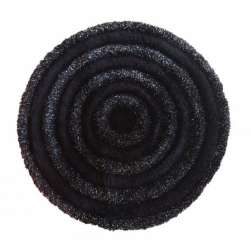Dywan czarny-świecąca nitka okrąg