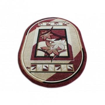 Dywan Liście Środkowe Czerwień Owal