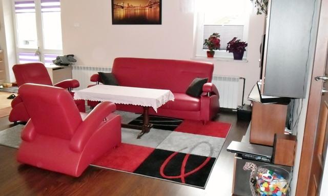 Aranżacja Dywan nowoczesny Kwadraty ze wzorem czerwień