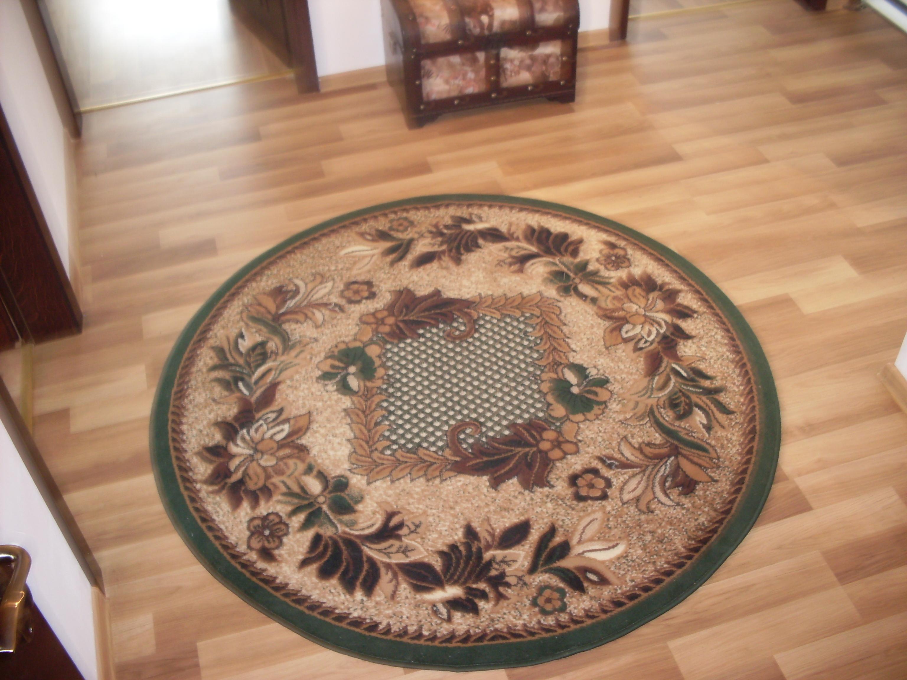 Aranżacja Dywan okrągły Krata zieleń